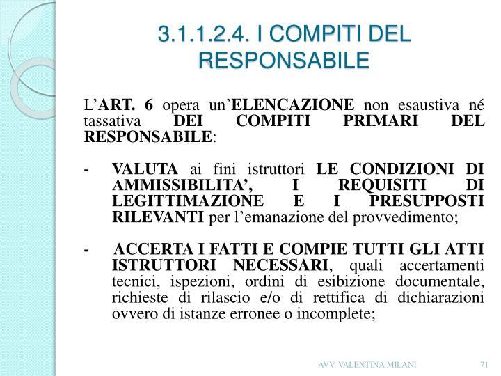 3.1.1.2.4. I COMPITI DEL RESPONSABILE