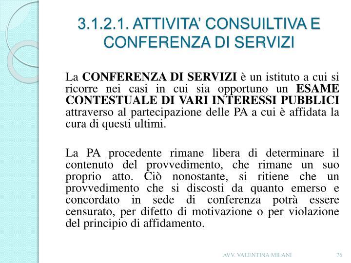 3.1.2.1. ATTIVITA' CONSUILTIVA E CONFERENZA