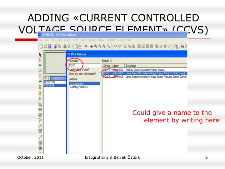 ADDING «CURRENT CONTROLLED VOLTAGE SOURCE ELEMENT»