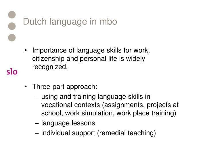 Dutch language in mbo