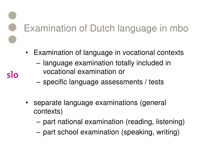 Examination of Dutch language in mbo