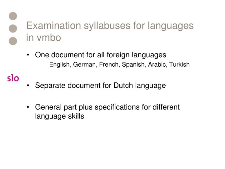 Examination syllabuses for languages in vmbo
