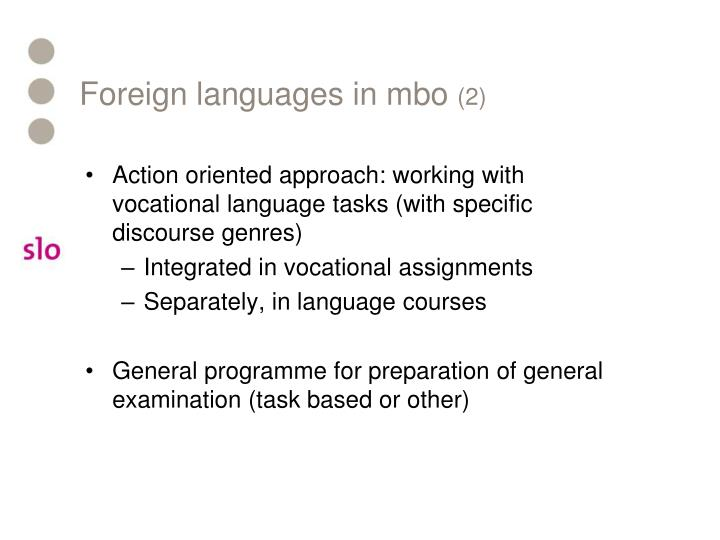 Foreign languages in mbo