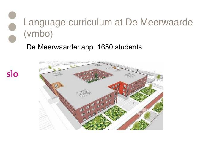Language curriculum at De Meerwaarde (vmbo)