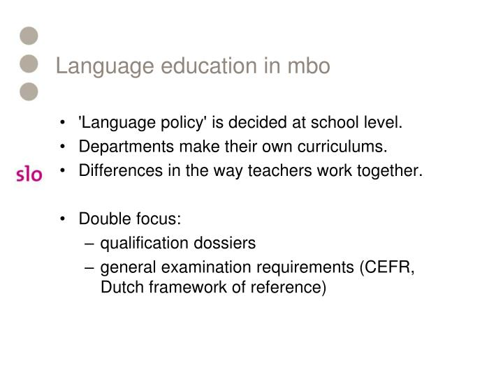 Language education in mbo