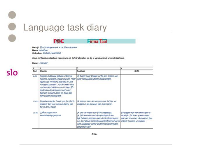Language task diary