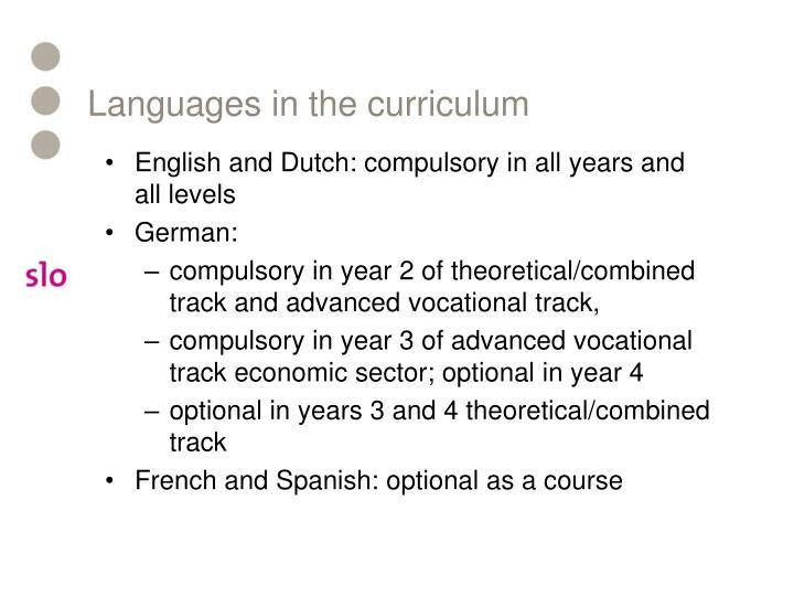 Languages in the curriculum