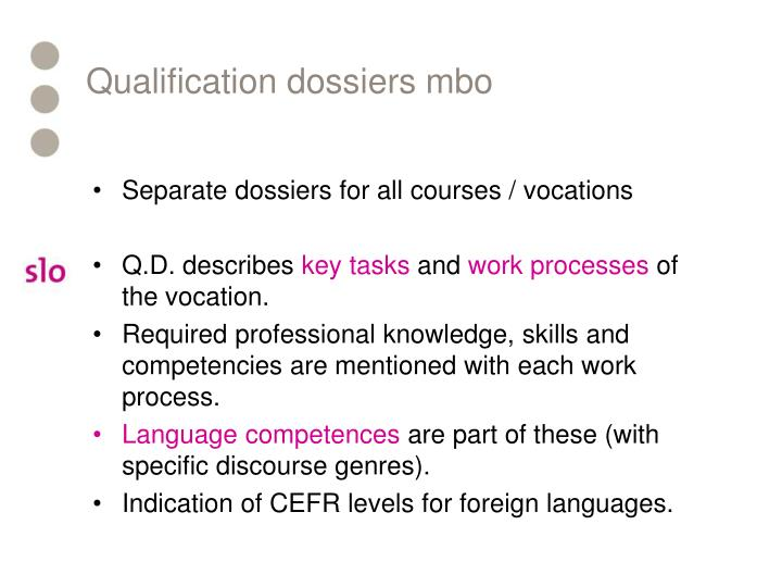 Qualification dossiers mbo