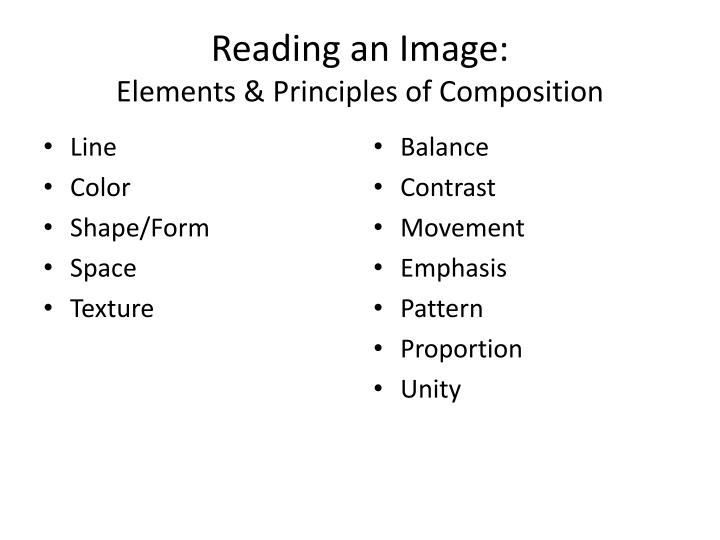 Reading an image elements principles of composition