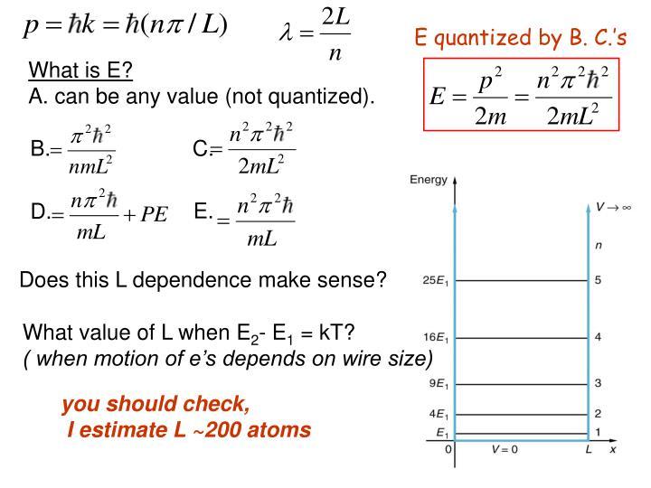 E quantized by B. C.'s