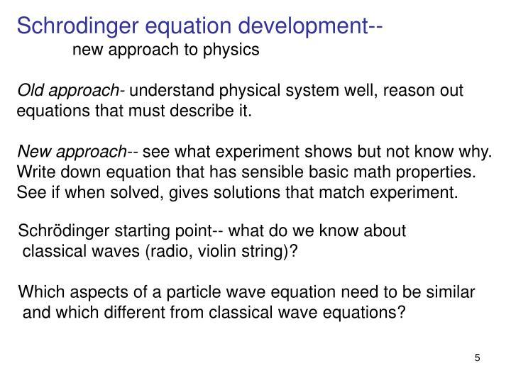 Schrodinger equation development--