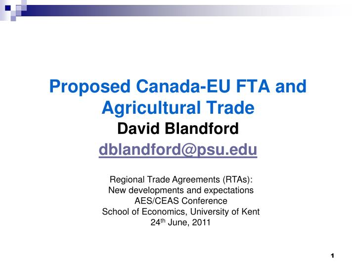 Proposed canada eu fta and agricultural trade