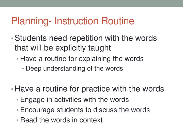 Planning- Instruction Routine