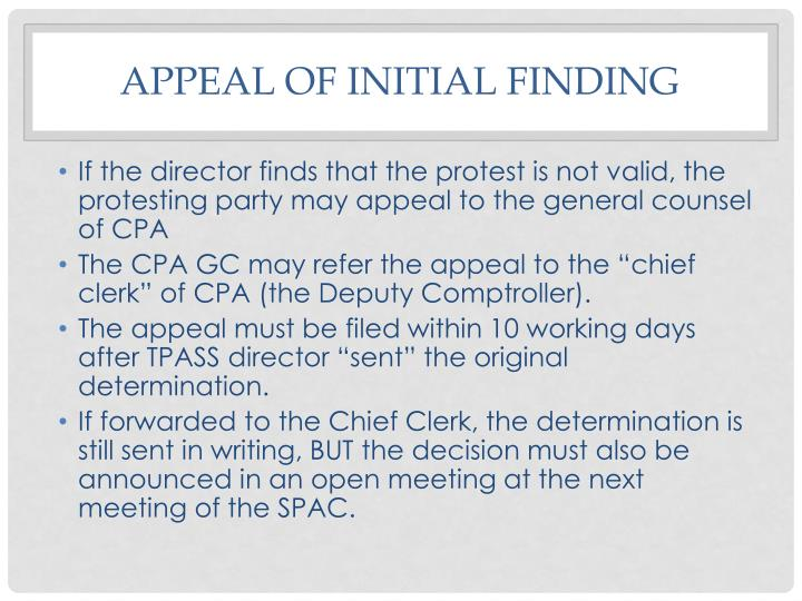 Appeal of initial finding