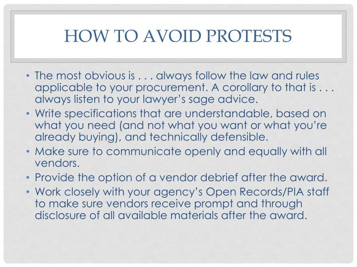 How to avoid protests