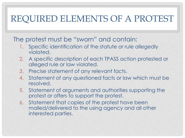 Required elements of a protest