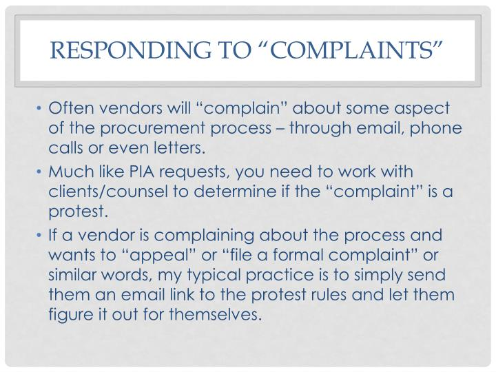 "Responding to ""complaints"""