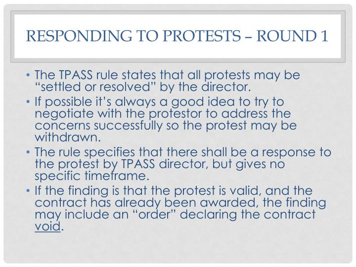 Responding to protests – Round 1