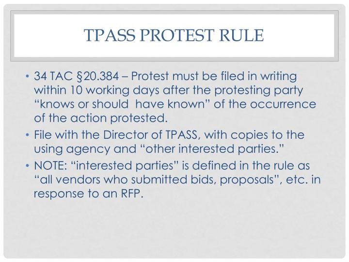 Tpass protest rule