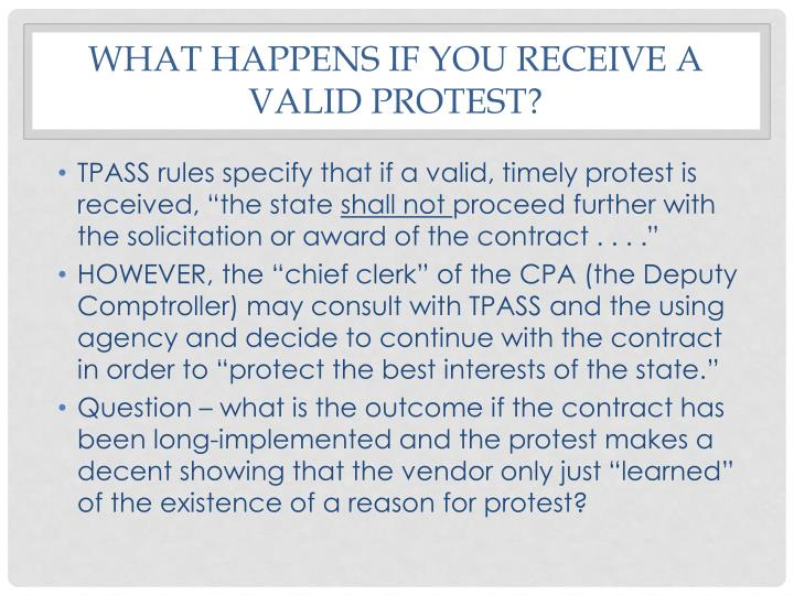 What happens if you receive a valid protest?