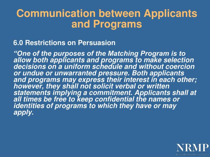 Communication between Applicants and Programs
