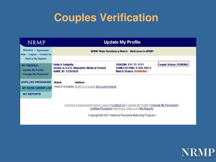 Couples Verification