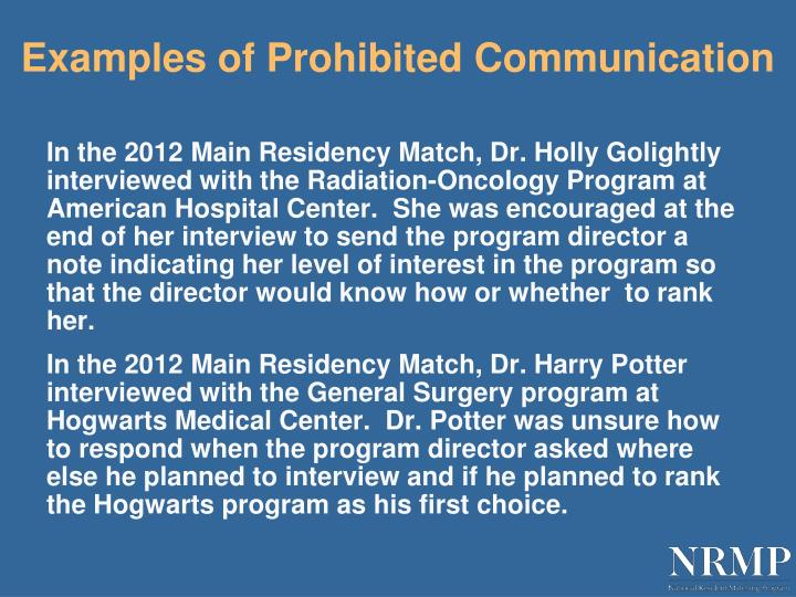 Examples of Prohibited Communication