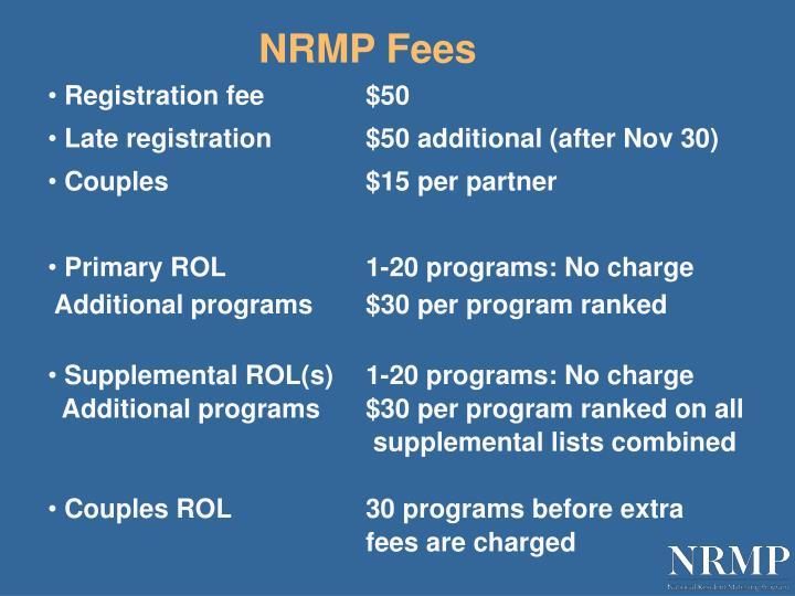 NRMP Fees