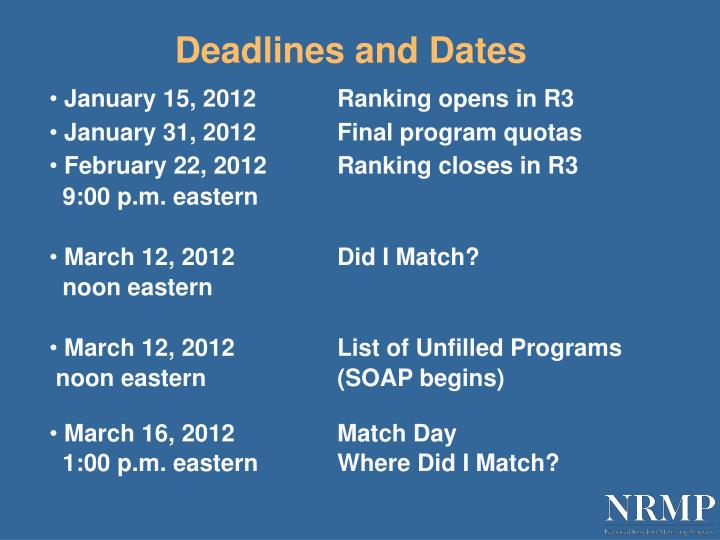 Deadlines and Dates