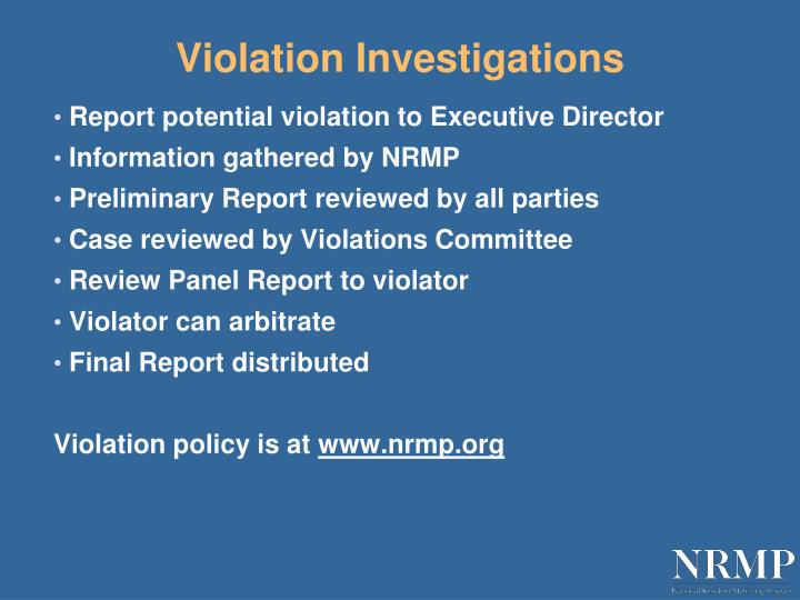 Violation Investigations