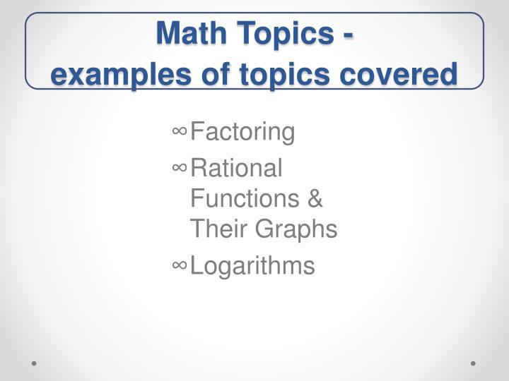 Math Topics -