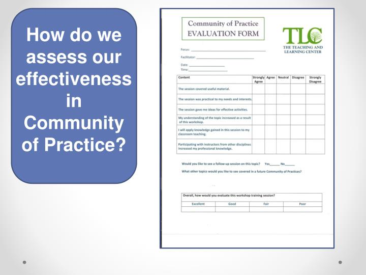 How do we assess our effectiveness in Community of Practice?