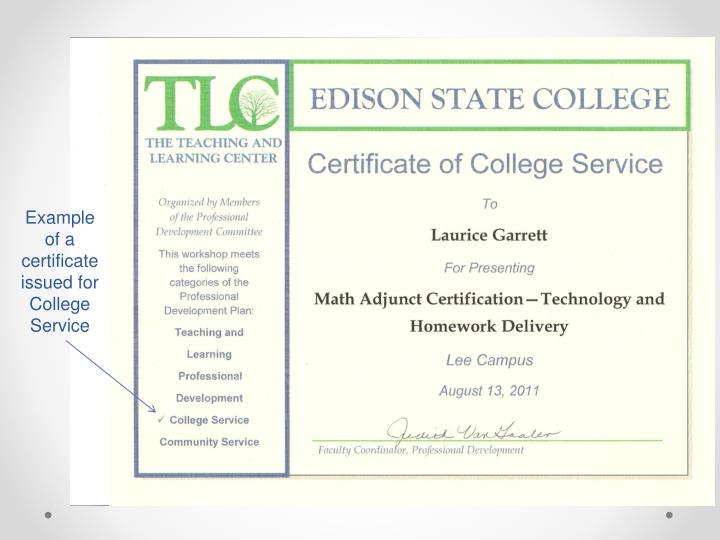 Example of a certificate issued for College Service