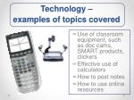 technology examples of topics covered