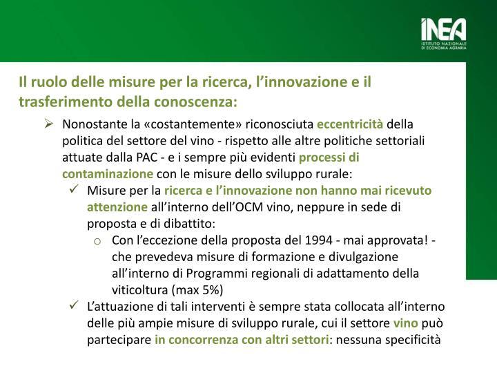 Il ruolo delle misure per la ricerca, l'innovazione e il trasferimento della
