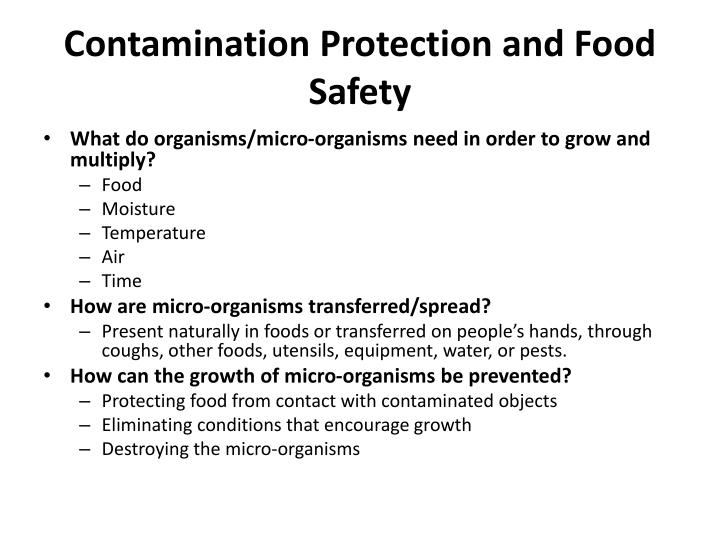 Contamination Protection and Food Safety