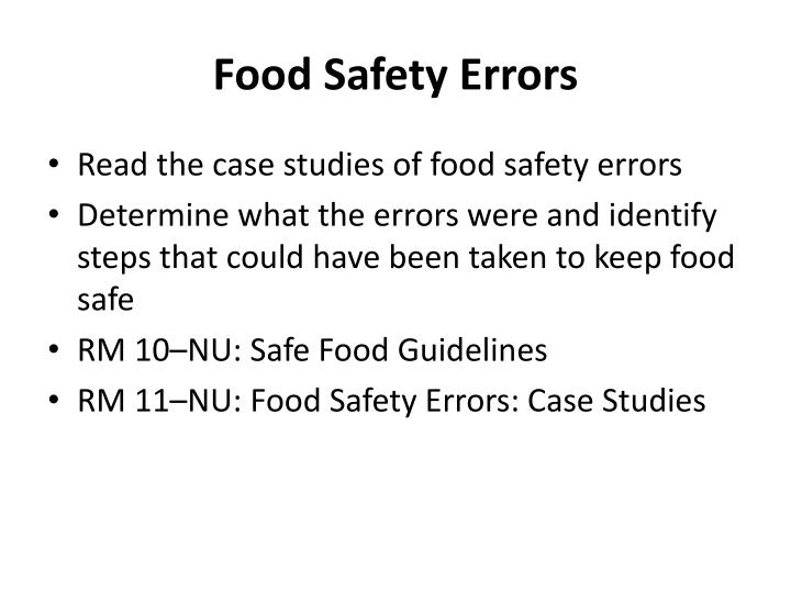 Food Safety Errors