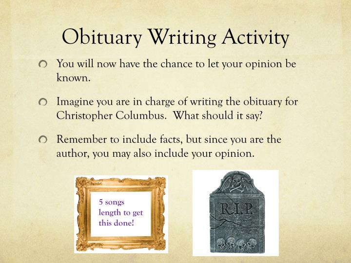 Obituary Writing Activity