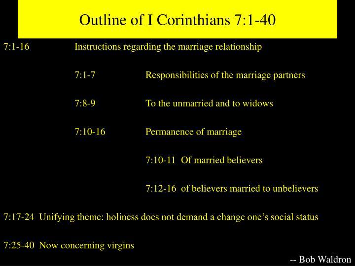 Outline of I Corinthians 7:1-40