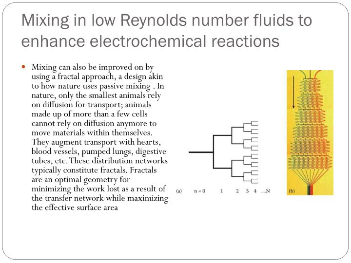Mixing in low Reynolds number fluids to enhance electrochemical reactions