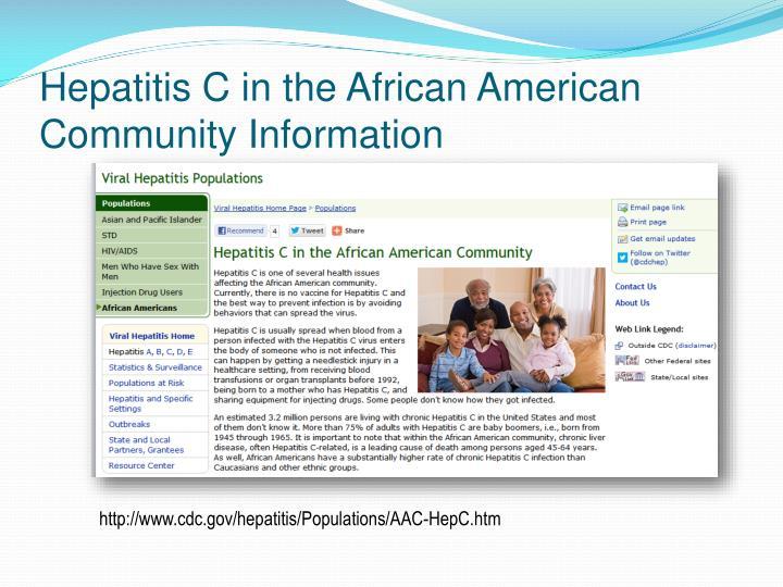 Hepatitis C in the African American Community Information