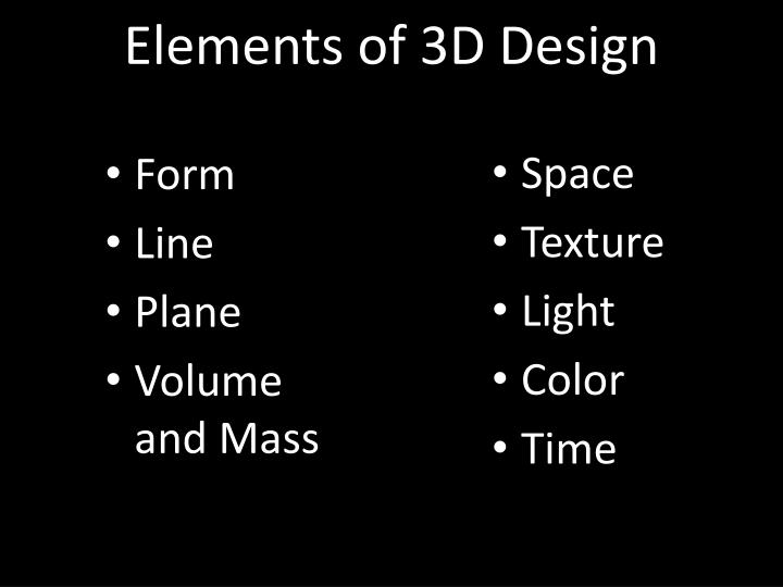 Elements of 3D Design