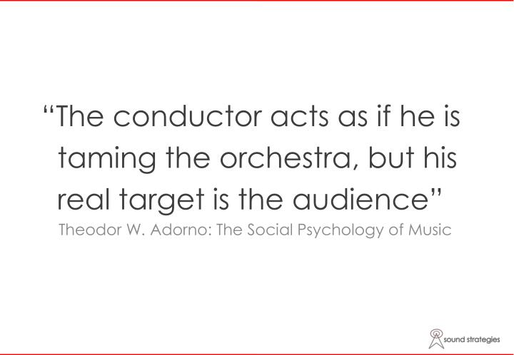 """The conductor acts as if he is"