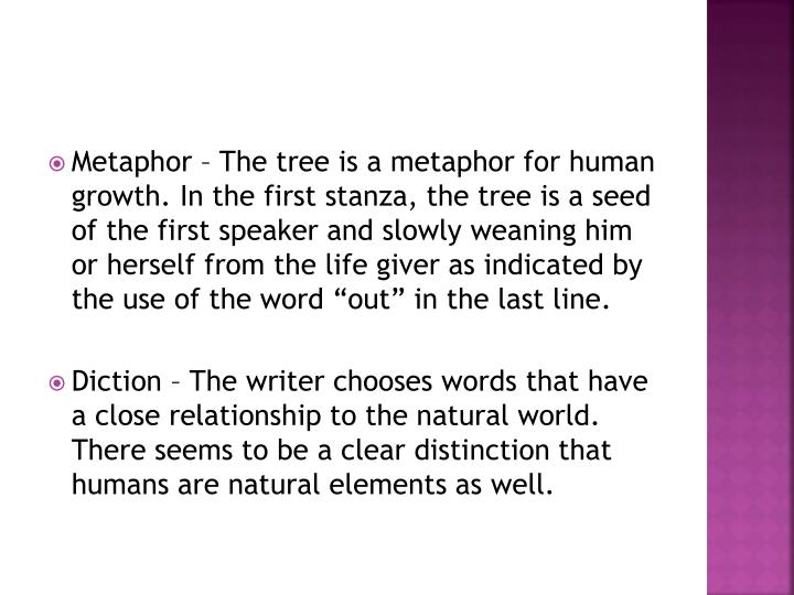 "Metaphor – The tree is a metaphor for human growth. In the first stanza, the tree is a seed of the first speaker and slowly weaning him or herself from the life giver as indicated by the use of the word ""out"" in the last line"