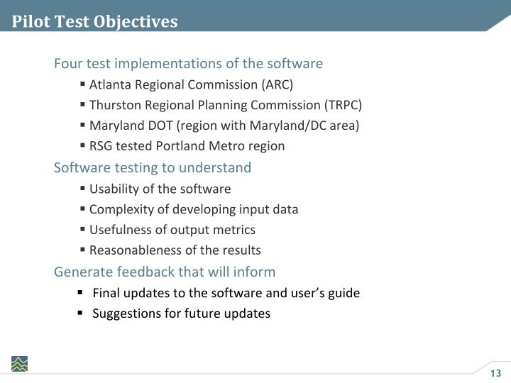 Pilot Test Objectives