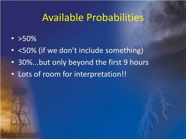 Available Probabilities
