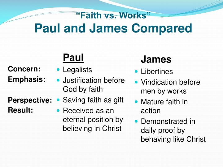 """Faith vs. Works"""