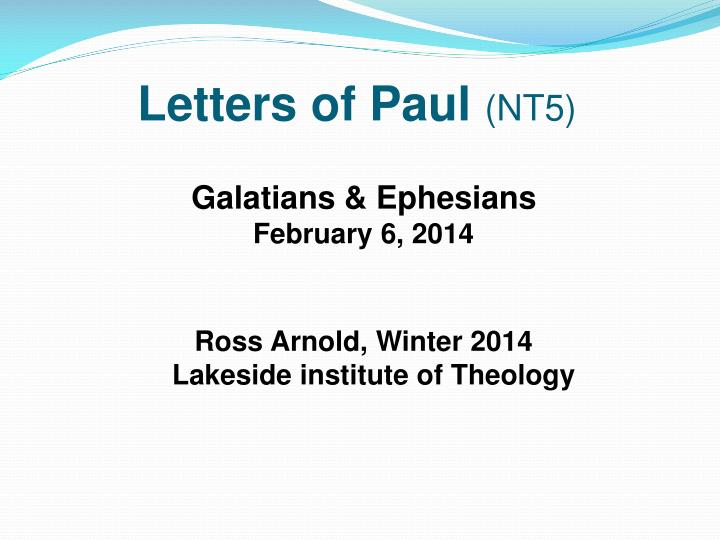 Letters of paul nt5