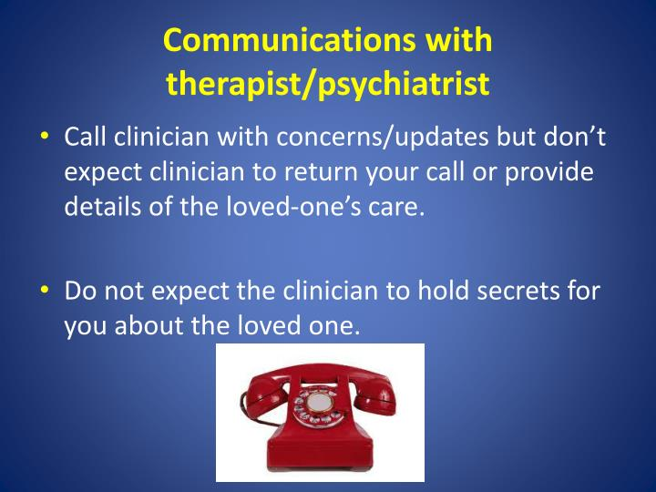Communications with therapist/psychiatrist