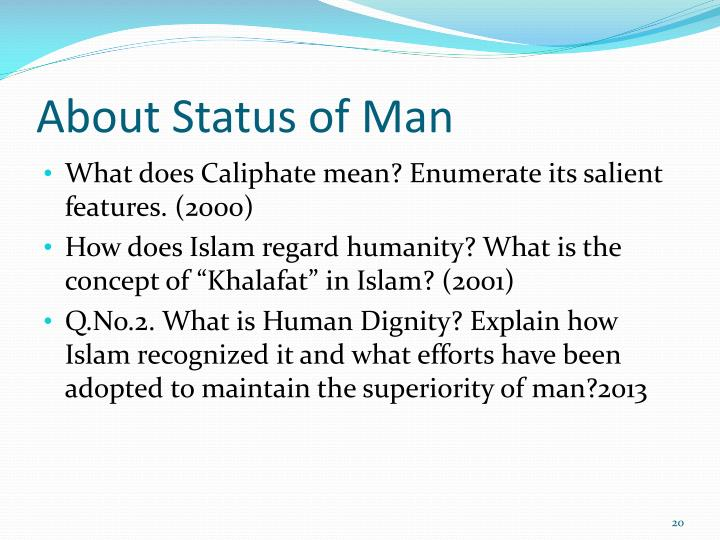 About Status of Man